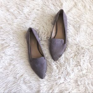 SAKS 5TH AVE taupe glittered pointed toe flats